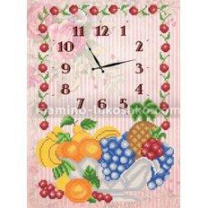 Схема для вышивки бисером Часы. Ваза с фруктами