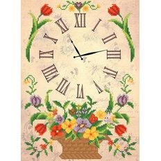 Схема для вышивки бисером Часы. Корзина с цветами