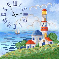 Схема для вышивки бисером Часы. Синее море