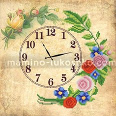 Схема для вышивки бисером Часы. Старинные розы
