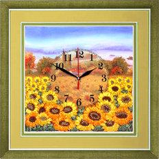 Набор для вышивки лентами Часы. Желтое поле подсолнухов