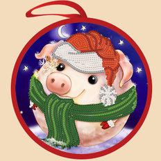 Схема для вышивки бисером Елочная игрушка. Снежная свинка