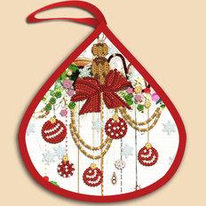 фото: ёлочное украшение, вышитое бисером Капелька
