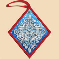 фото: ёлочное украшение, вышитое бисером Ромб