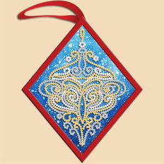 фото: ёлочное украшение, вышитое бисером Золотой ромб