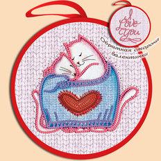фото: валентинка для вышивки бисером Котики