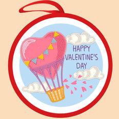 фото: валентинка для вышивки бисером На воздушном шаре