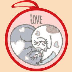 фото: валентинка для вышивки бисером Кошачье сердце
