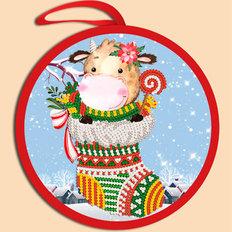 фото: схема для вышивки бисером Елочная игрушка. Новогодний бычок