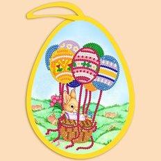 фото: пасхальная игрушка для вышивки бисером, Пасхальное яйцо. Зая на шариках