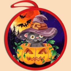 фото: схема для вышивки бисером Игрушка Halloween. Кот в тыкве