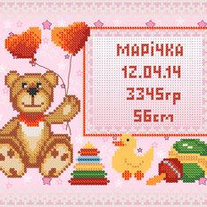Схема для вышивки бисером МКП-4-002 Детская метрика для девочки
