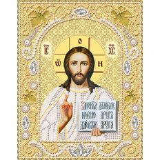 фото: икона Господь Вседержитель для вышивки бисером, золотой фон