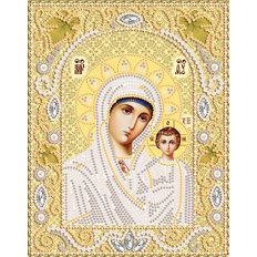 фото: икона Богородица Казанская, набор для вышивки бисером, фон золото