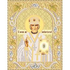 фото: икона для вышивки бисером Николай Чудотворец, золотой фон