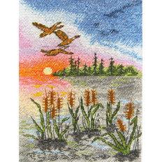 фото: картина для вышивки крестиком Летний закат