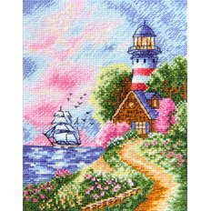фото: картина для вышивки крестиком Маяк на закате