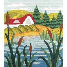 Набор для вышивки нитками Озеро в камышах