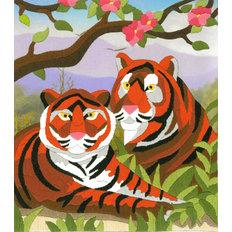 фото: картина для вышивки нитками в технике лонгстич, пара тигров