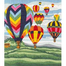 фото: картина для вышивки в технике лонг стич Воздушные шары