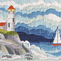 фото: картина для вышивки в технике лонг стич Северный маяк