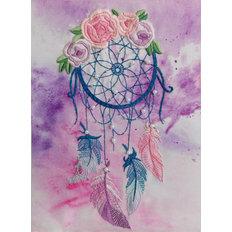 фото: картина для вышивки декоративными швами Ловец снов с цветами