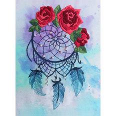 фото: картина для вышивки декоративными швами Ловец снов с розами