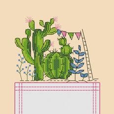 фото: картинка, вышитая крестиком на одежде, кактусы