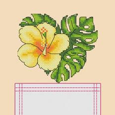 фото: картинка, вышитая крестиком на одежде, желтый тропический цветок