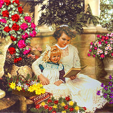 фото: картина для вышивки лентами Мама и дочка