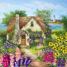 фото: картина для вышивки лентами Уютный домик