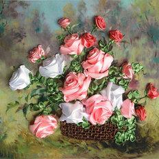 фото: картина для вышивки лентами Розовая феерия
