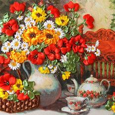 фото: картина для вышивки лентами Душистый чай