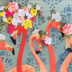 фото: картина для вышивки лентами Веселые фламинго