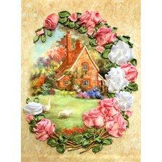 Набор для вышивания лентами Домик в розах