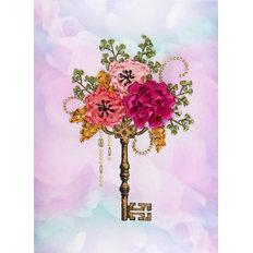 фото: картина, вышитая лентами Садовый ключик