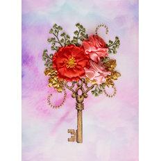 фото: картина, вышитая лентами Цветочный ключик