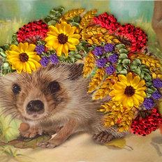 фото: картина для вышивки лентами Осенние запасы