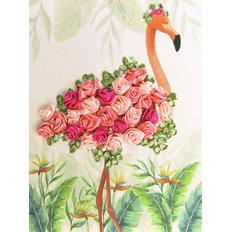 фото: картина для вышивки лентами Фламинго