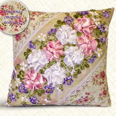 Набор-Подушка для вышивки лентами. Розы