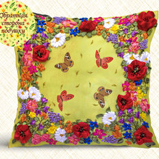 Набор-Подушка для вышивки лентами. Цветы и бабочки