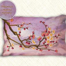 """фото: подушка Сакура, вышитая нитками в технике """"декоративные швы"""""""