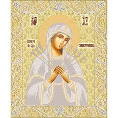 изображение: икона для вышивки бисером Образ Пресвятой Богородицы Семистрельная