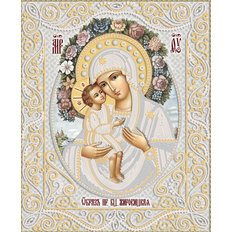 изображение: икона для вышивки бисером Жировицкая икона Божией Матери (серебро)