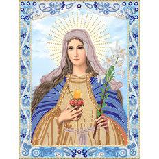 изображение: икона Сердце Девы Марии, вышитая бисером