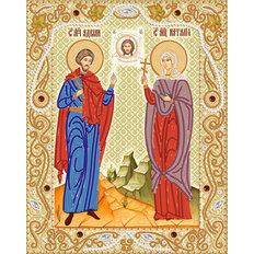 изображение: икона Святые мученики Адриан и Наталия, вышитая бисером