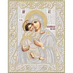 изображение: икона для вышивки бисером Владимирская икона Божией Матери (серебро)