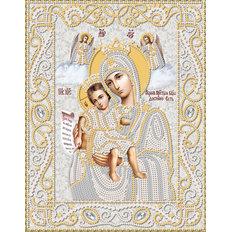 изображение: икона Богородицы Достойно есть (Милующая), вышитая бисером (серебро)