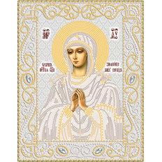 изображение: икона Богородицы Умягчение злых сердец, вышитая бисером (серебро)