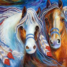 фото: картина для вышивки бисером, пара лошадей